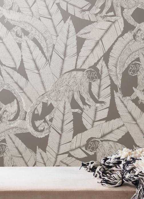 Papier peint moderne Papier peint Arlo argenté brillant Vue pièce