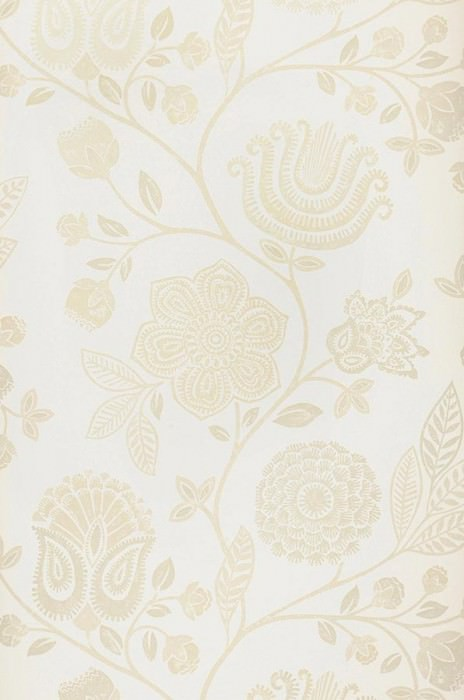 Wallpaper Macha Matt Flowers Cream Light beige