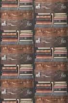 Papel pintado Elva Mate Libros Maletas Gris oscuro Marrón grisáceo Marfil claro Rojo