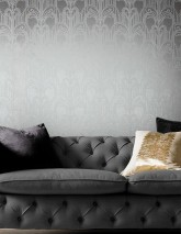 Papel pintado Emilia Patrón mate Superficie base brillante Art Deco Fuentes de champán Aluminio gris Blanco