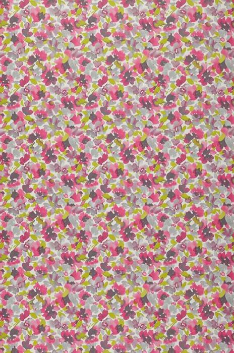 Wallpaper Marielle Matt Blossoms White Heather violet Yellow green Grey brown Light grey