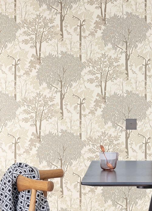 Botanical Wallpaper Wallpaper Mirabelle grey beige Room View