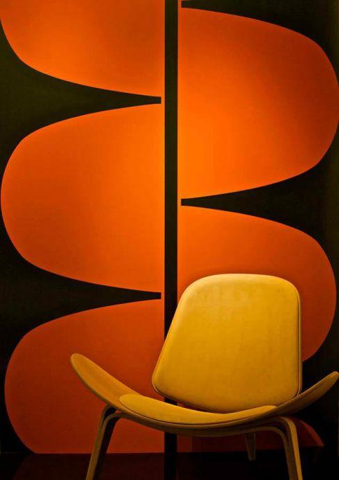 Papier peint design Papier peint Alvorada orange rouge foncé Vue pièce