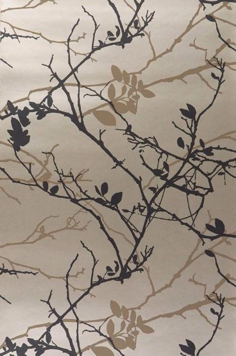 Papier peint Epona Motif mat Surface chatoyante Feuilles Branches Doré Brun pâle Noir