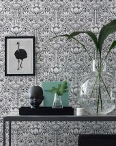 Wallpaper Dorothea Matt Stylised flowers White Black