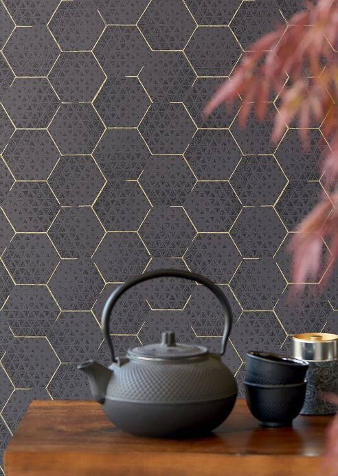 Oriental Wallpaper Wallpaper Hadeggo black grey Room View