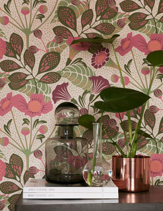 Floral Wallpaper Wallpaper Ancasi antique pink Room View