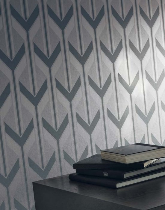 Wallpaper Michabo Shimmering pattern Matt base surface Stylised letter Y Aluminium Basalt grey Silver