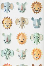 Wallpaper Wild Animals Matt Animals White Beige Blue Brown Yellow Green