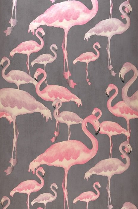 Wallpaper Amidala Shimmering pattern Matt base surface Flamingos Brown grey Light ivory Rosè Red violet