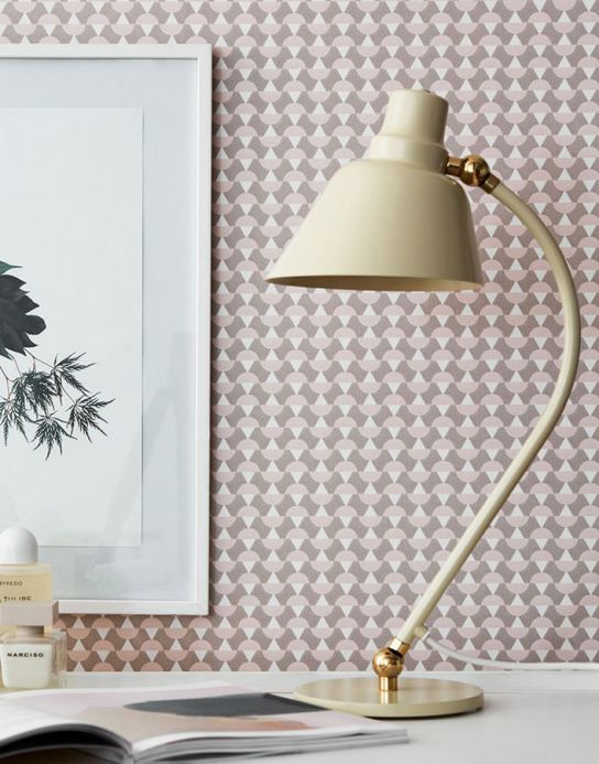 Papier peint géométrique Papier peint Arles gris beige Vue pièce