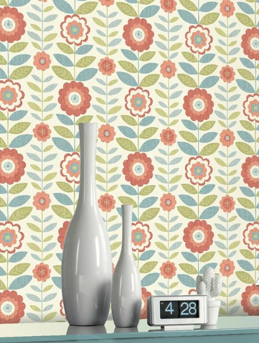 Wallpaper Wioleta Matt Stylised flowers Cream Cream shimmer Orange Pastel green Pastel turquoise Red