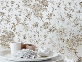 Wallpaper Elena Matt pattern Shimmering base surface Flower tendrils Silver metallic Anthracite Beige Cream
