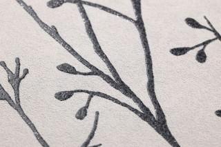 Papel de parede Nurija Mate Ramos Branco creme Cinza antracite Preto Prateado cintilante