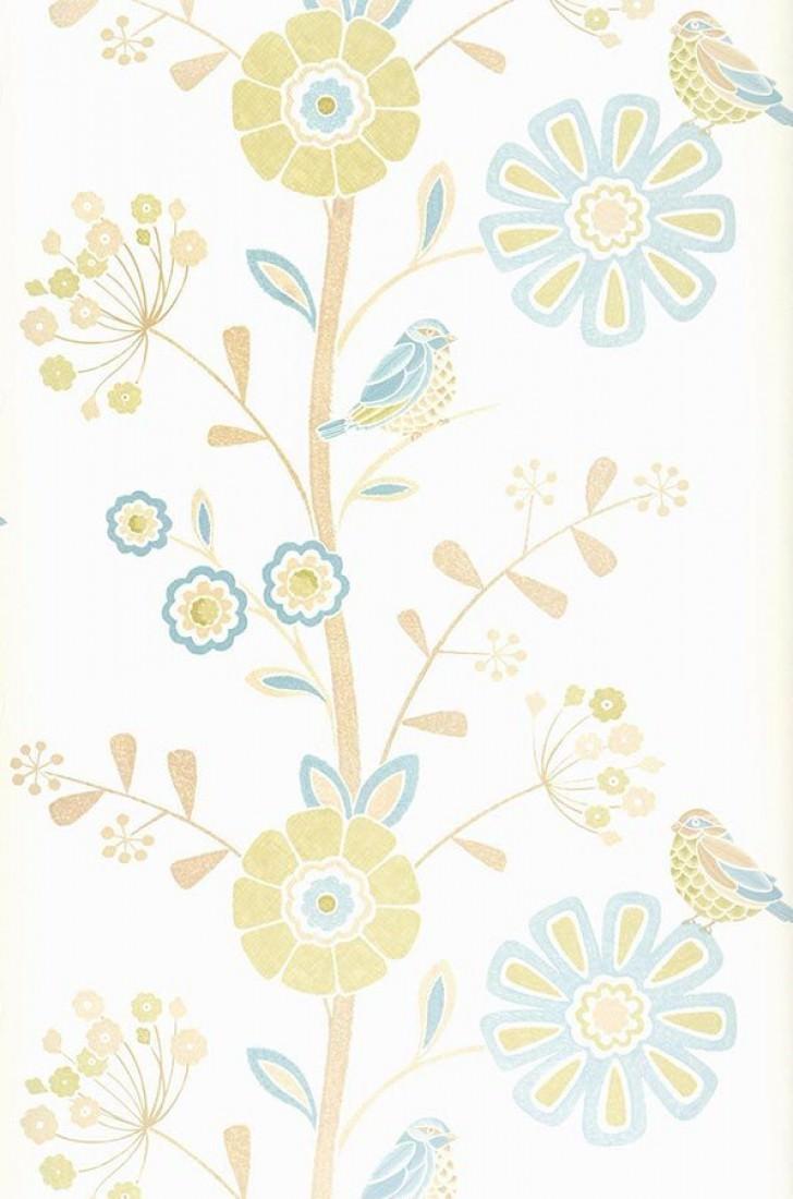 tapete lorena cremeweiss blassbeigebraun gelbgr n hellblau tapeten der 70er. Black Bedroom Furniture Sets. Home Design Ideas