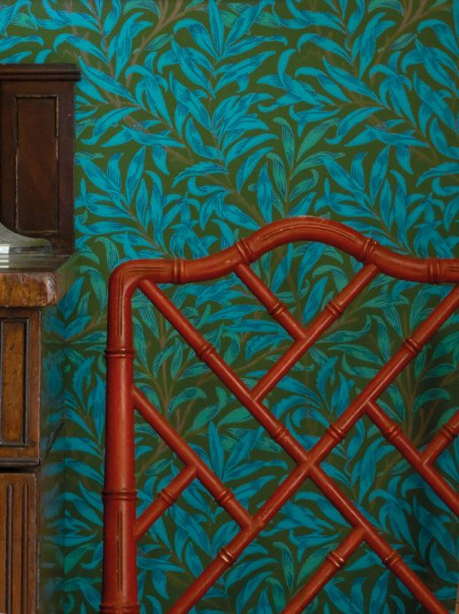 Papier peint design Papier peint Darcie bleu turquoise Vue pièce