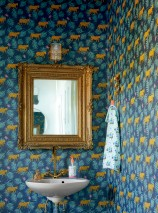 Wallpaper Kabbo Matt Leaves Blossoms Leopards Grey blue Brilliant blue Heather violet Golden yellow Mint turquoise