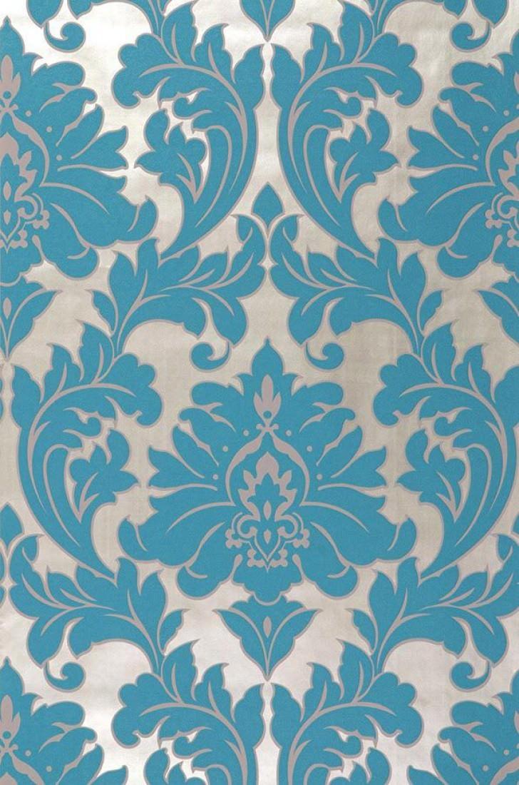 Papel de parede samanta ouro branco azul turquesa for Blue patterned wallpaper bedroom