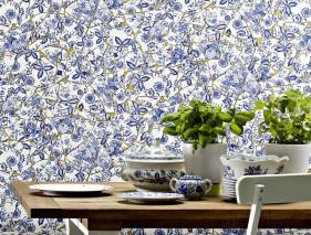 Papel pintado Broken China Patrón mate Superficie base brillante Fragmentos de porcelana Oro perla Azul zafiro Azul pichón Azul violeta Blanco