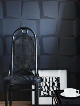 Papel pintado 3D-Squares Mate Cuadrados Gris negruzco Negro  Gris negruzco lustre