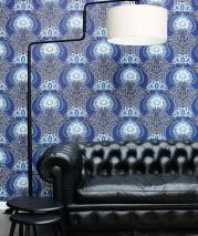 Tapete Tereza Matt Retro Design Stilisierte Blumen Schwarz Blassblau Brillantblau Graublau Ultramarinblau Weiss