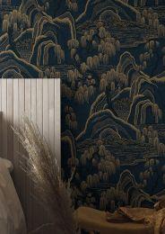 Papel pintado Japanese Garden gris antracita