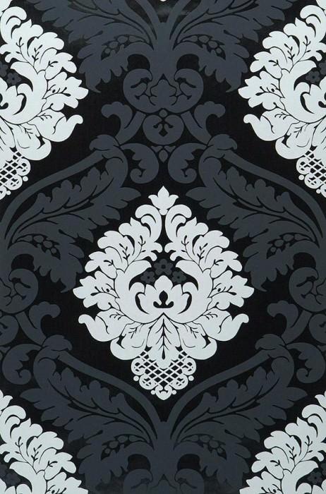 Papel pintado Rajah Patrón mate Superficie base reluciente Damasco barroco Negro laqueado Blanco