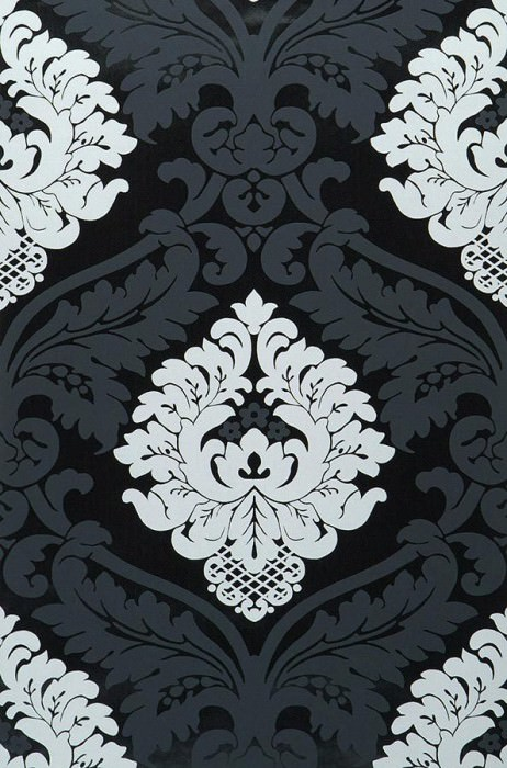 Wallpaper Rajah Matt pattern Shiny base surface Baroque damask Black lacquer White