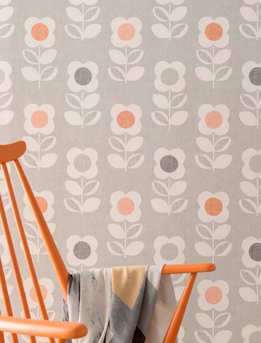 Wallpaper Catania Matt Retro design Stylised flowers Light grey Anthracite Red orange White