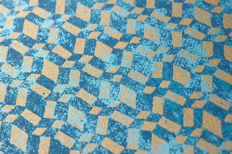 Papel pintado zopara azul oscuro azul pastel oro perla for Papel pintado de los 70