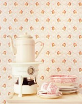 Wallpaper Nissi Matt Small ornaments Dots Roses Cream Brown Yellow green Light brown beige Red orange