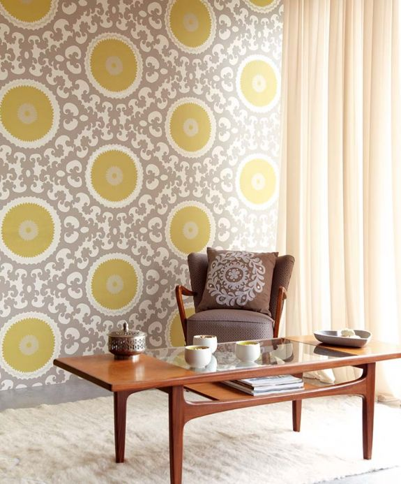 Archiv Wallpaper Aton lemon yellow Room View