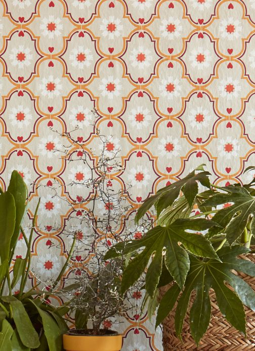 Vintage Wallpaper Wallpaper Efigenia orange Room View