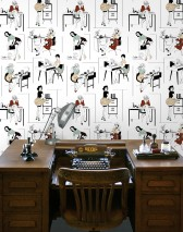 Wallpaper Office Etiquette Matt Vintage Secretaries White Light mint turquoise Pastel yellow Ruby red Black