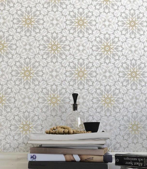 Wallpaper Gakido Matt Modern damask Stylised blossoms Cream Light grey Pale yellow Light grey beige