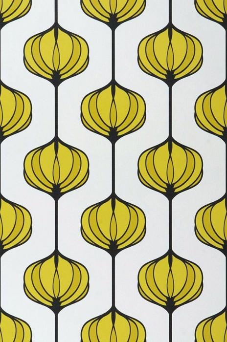 Papel de parede Maude Mate Elementos retro Branco Amarelo esverdeado Preto