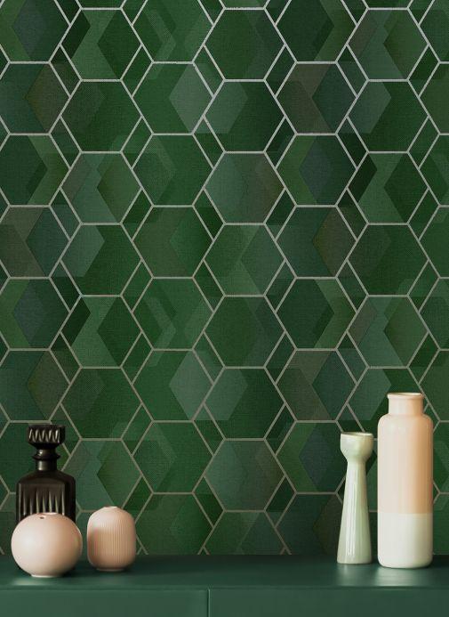 Geometrische Tapeten Tapete Opalino Grüntöne Raumansicht