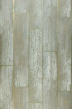 Wallpaper Atoras Matt Old wooden boards Pastel green Gold shimmer