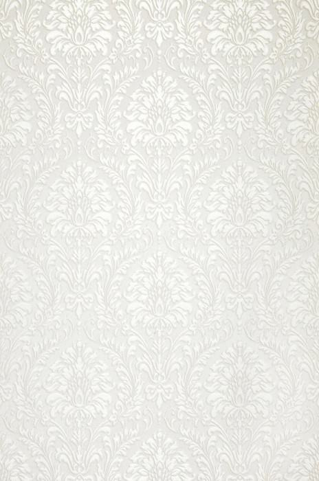 Papel pintado Sedan Patrón brillante Efecto textil Superficie base mate Damasco barroco Blanco Blanco ostra brillante