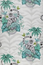Wallpaper Helvi Matt Monkeys Leaves Blossoms Bugs Grey white Shades of green Light grey Black grey