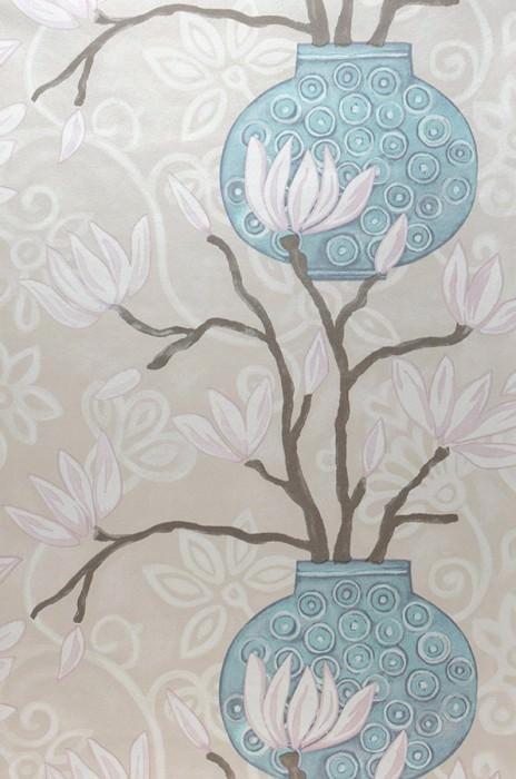 Wallpaper Habita Matt Flowers Floral Elements Vases Cream Light grey beige Grey brown Light pink Pastel turquoise