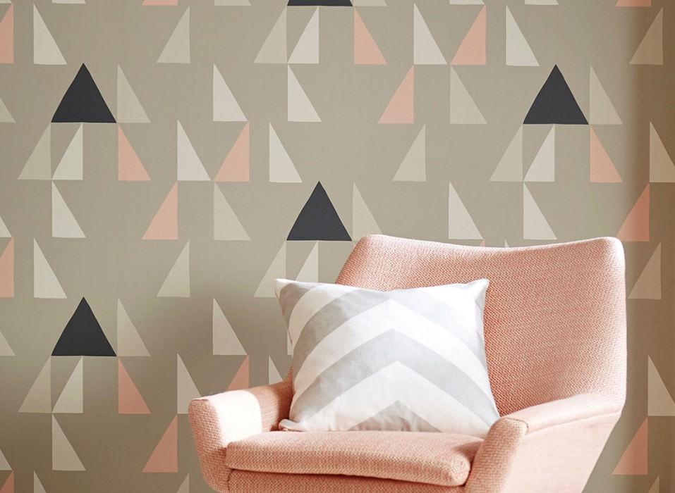 Wallpaper Deneris Matt Triangles Light grey Cream Light grey beige Light pink Black grey