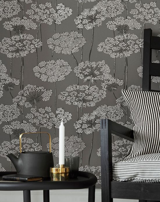 Papel pintado floral Papel pintado Esoka gris Ver habitación