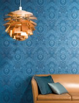 Papel de parede Luska Mate Damasco floral Azul Azul pastel