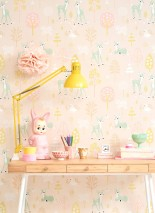 Wallpaper Golden woods Hand printed look Matt Trees Deer Butterflies Birds Pale pink Antique pink Beige Pale yellow Pale green Cream