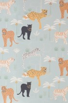 Wallpaper Black panther Hand printed look Matt Leopards Leopards Palm trees Panthers Tigers Light mint turquoise Anthracite grey Pale green Cream Yellow orange Pastel yellow