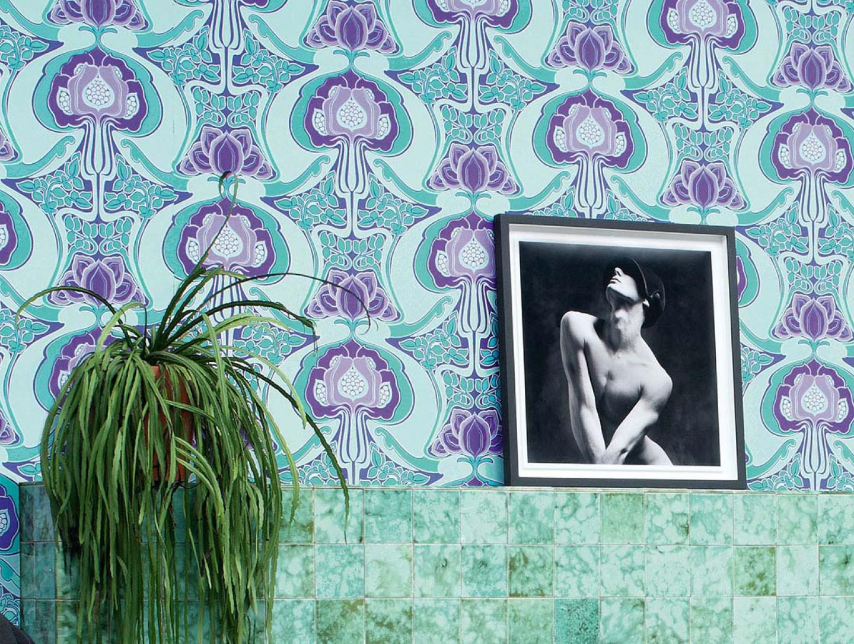 Papel pintado tereza violeta azulado verde p lido for Papel pintado azul turquesa