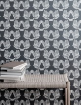Wallpaper Birds Matt Birds Granite grey Grey white