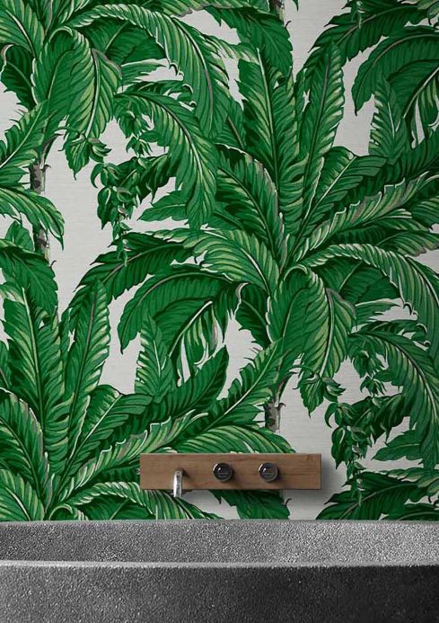 Botanical Wallpaper Wallpaper Eden shades of green Room View