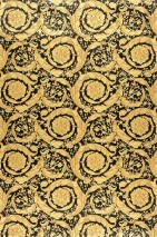 Wallpaper Mimas Shimmering pattern Matt base surface Floral damask Black Pale yellow Gold